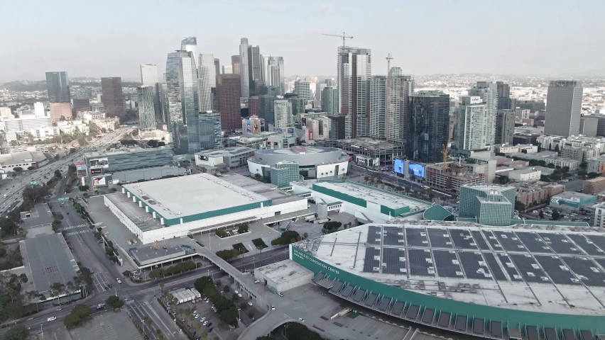 LOS ANGELES, CA, USA - Feb 15, 2021: Los Angeles Drone 4k. Aerial view of staples center, convention, modern office buildings, skyscrapers, banks, downtown apartments in LA. Urban life, city in USA.