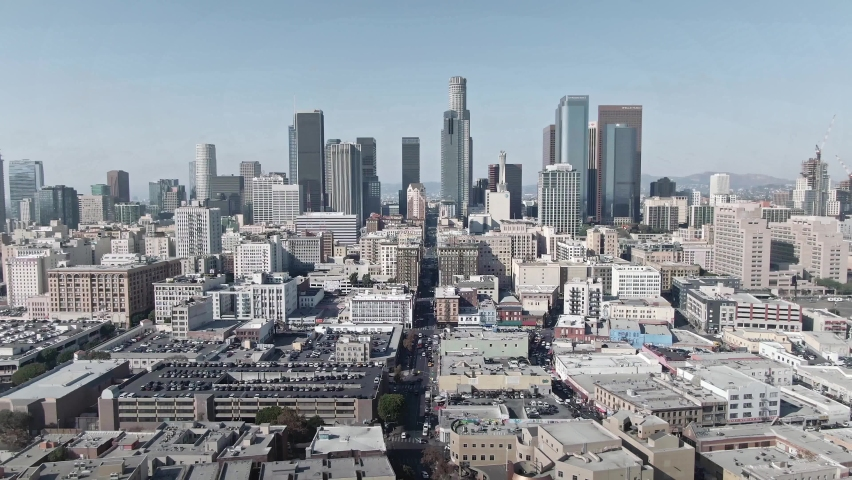 LOS ANGELES, CA, USA - Feb 15, 2021: Los Angeles Drone 4k. Aerial view of modern office buildings, skyscrapers, banks, downtown apartments in LA. Urban life, financial business center, city in USA.