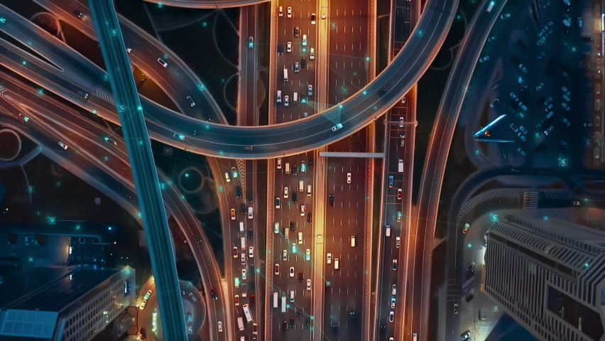 Ai Cars Logistic Autonomous Delivery Traffic Monitoring IoT GPS Satellite Connection 5G Smart City Traffic Junction Highway Establishing Connection Satellites Triangulation Of Transportation Data | Shutterstock HD Video #1067634020