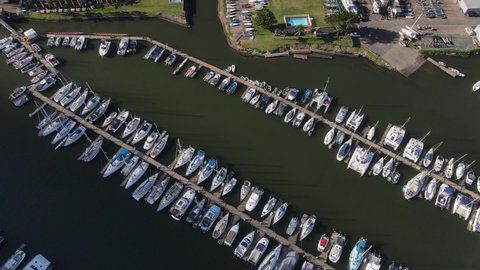 Yachts docked in the harbour