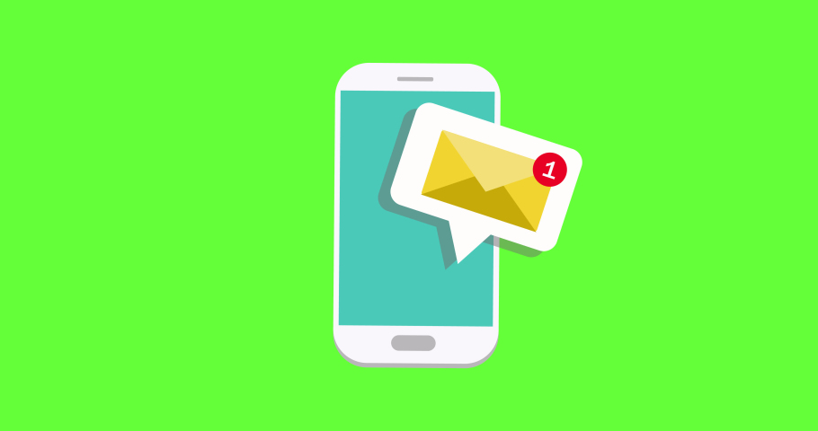 getting an email on smartphone notification, Email app for mobile, Email notification on smartphone on green screen - conceptual animation video clip Royalty-Free Stock Footage #1067638478