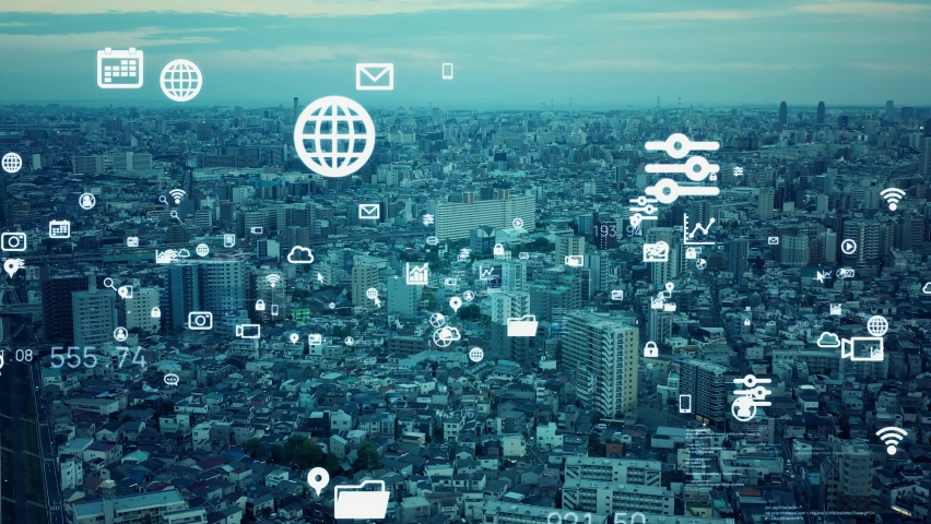 Smart city and communication network concept. 5G. IoT (Internet of Things). Telecommunication. | Shutterstock HD Video #1067647574