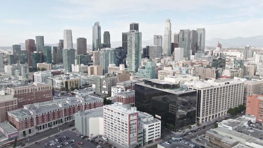 LOS ANGELES, CA, USA - Feb 15, 2021: Drone 4k. Aerial view. downtown Los Angeles. modern office buildings, skyscrapers, banks, apartments in LA. Urban life, financial business center, city in America.