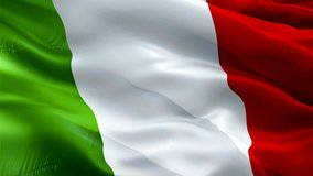 Italy flag. National 3d Italian flag waving. Sign of Italy seamless loop animation. Italian flag HD Background. Italy flag Closeup 1080p Full HD video for presentation Rome, Colosseum, Milan, Venice
