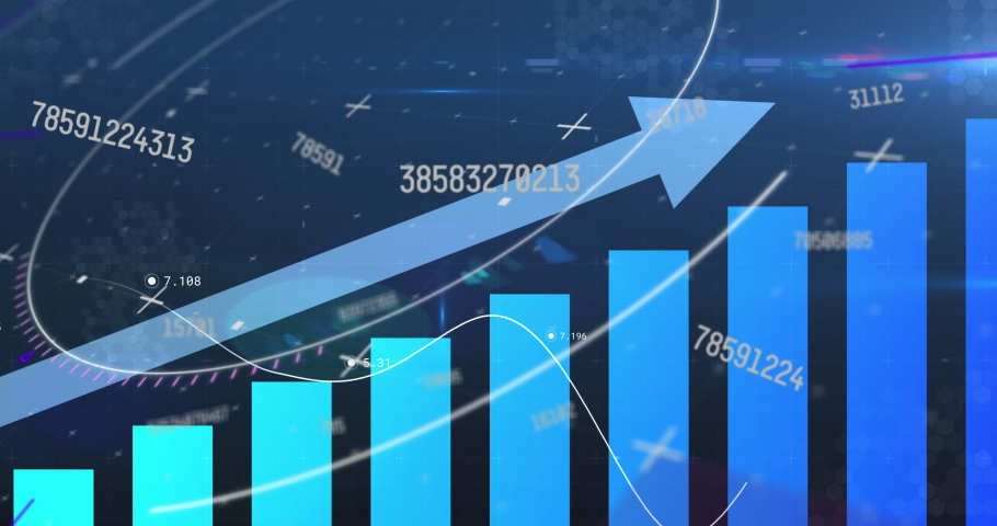 Digital animation of multiple changing numbers over statistical data processing on blue background. global finances and computer interface concept   Shutterstock HD Video #1067717228