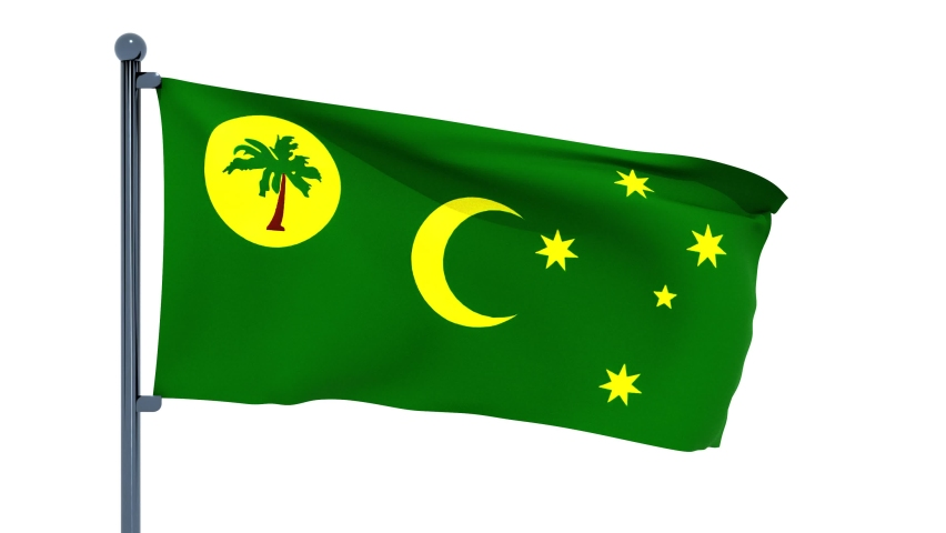 3D illustration of Waving flag of Cocos (Keeling) Islands with chrome flag pole in white background waving in the wind. High resolution flag with clarity.