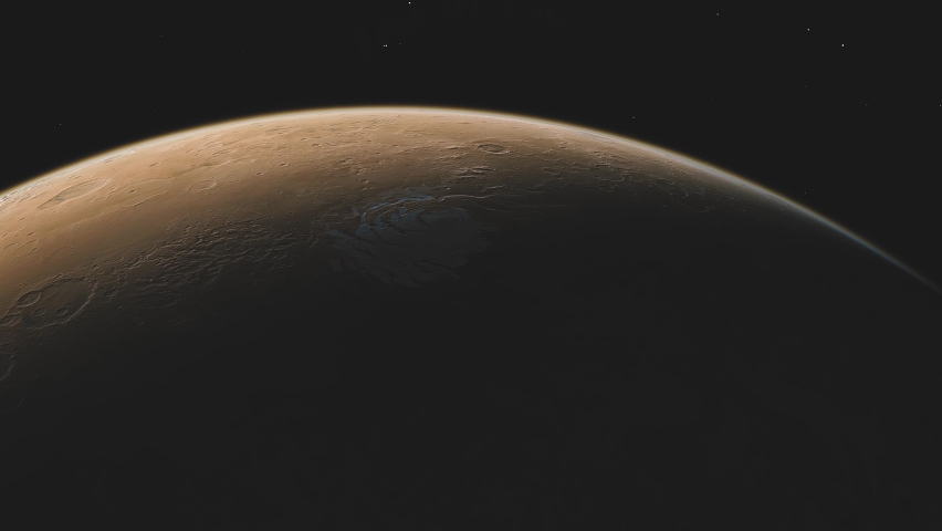 Planet Mars in deep space. spacecraft flies near Mars in the solar system. Cinematic 3d animation | Shutterstock HD Video #1067790095
