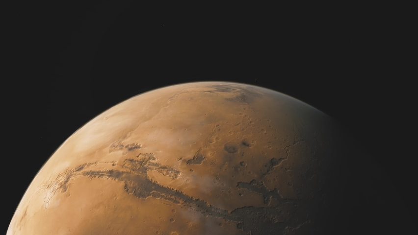 Planet Mars in deep space. spacecraft flies near Mars in the solar system. Cinematic 3d animation | Shutterstock HD Video #1067790098