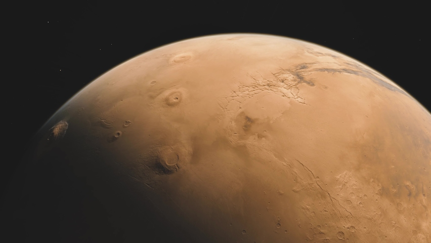 Planet Mars in deep space. spacecraft flies near Mars in the solar system. Cinematic 3d animation | Shutterstock HD Video #1067790101