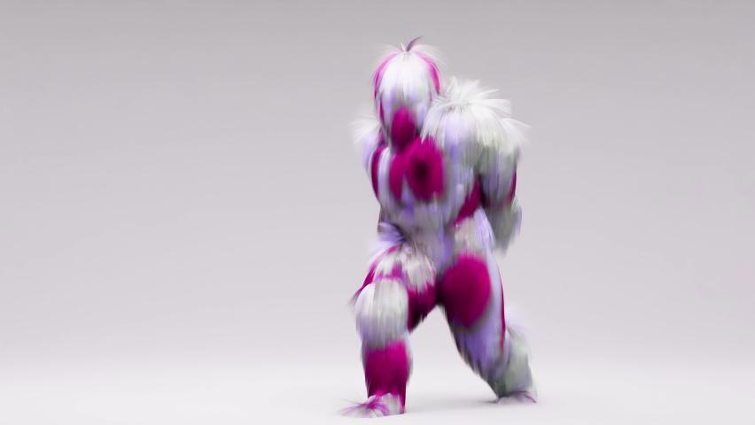 looping animation of Hairy 3d cartoon dancing, House dance, furious beast having fun, mascot looping, harmonious minimal modern movement design, fluffy monster, 3d render Royalty-Free Stock Footage #1067802662