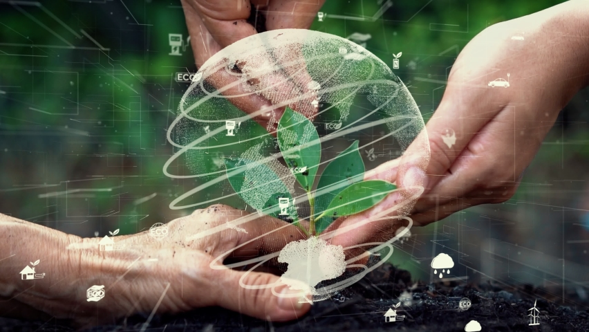 Future environmental conservation and sustainable ESG modernization development by using technology of renewable resources to reduce pollution and carbon emission . Royalty-Free Stock Footage #1067831678