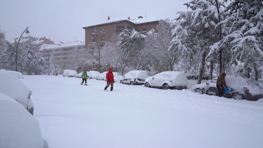 Tres Cantos, Madrid, Spain, January 9, 2021: A big snow storm, called Filomena, falls over Madrid on Saturday morning. Europe.