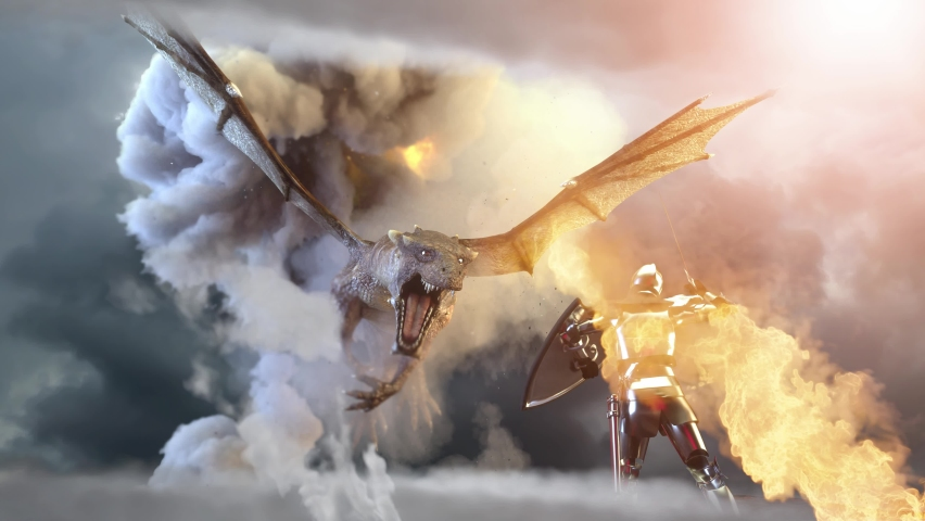 A knight fighting dragon, dragon versus man render 3d