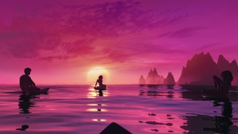 Surfers waiting in line up on the surfboards and watch the sunset. Seamless looping summer POV 3D animation with dramatic ocean, burning sky and golden waves. 4k outdoor fitness and active lifestyle