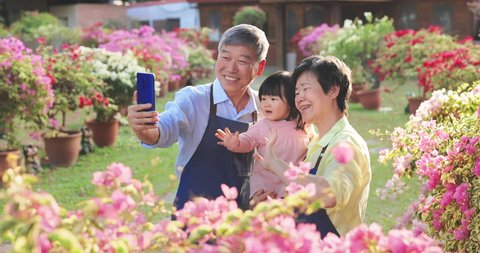 slow motion - Authentic shot of asian retired grandparents with their granddaughter have video chat on smart phone in the garden