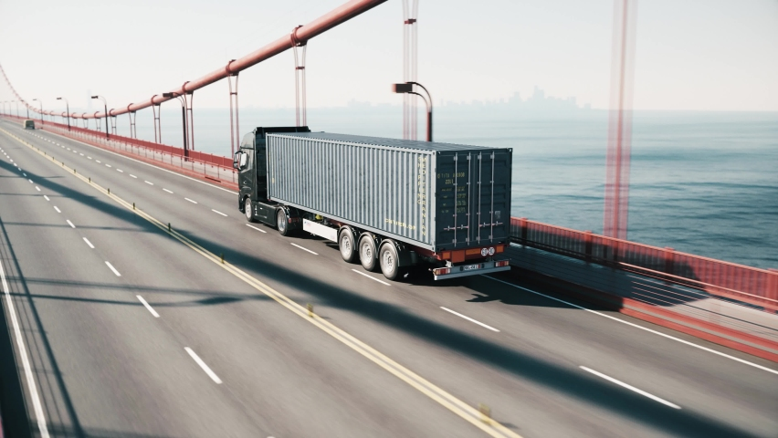 Logistics and transportation of Container. Freight train with cargo containers. Container ship, cargo trains and container truck. Business logistic import and export freight transportation Royalty-Free Stock Footage #1067925569