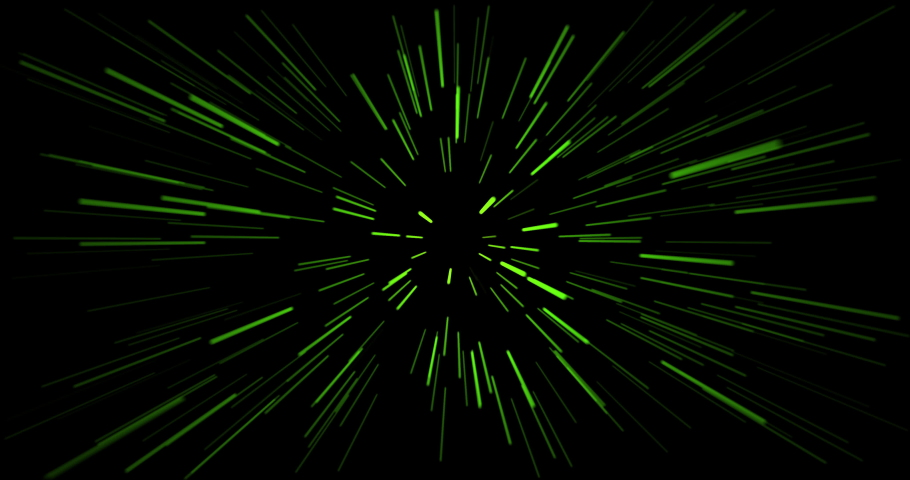 Hyper jump into another galaxy. Speed of light, green glowing rays in motion. Beautiful fireworks, colorful explosion, big bang. Falling stars. Abstract bright creative cosmic background | Shutterstock HD Video #1067936459