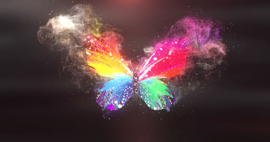 A rainbow-colored butterfly spreads its wings and disappears with a camera shake effect | Shutterstock HD Video #1067936576