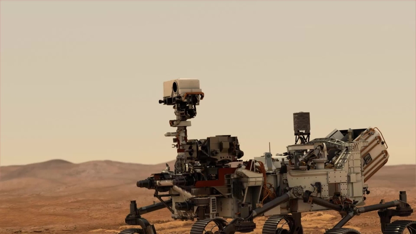 Animation of mars 2020 Perseverance Rover is exploring surface of Mars. Perseverance rover Mission Mars exploration of red planet. Elements of this video furnished by NASA.