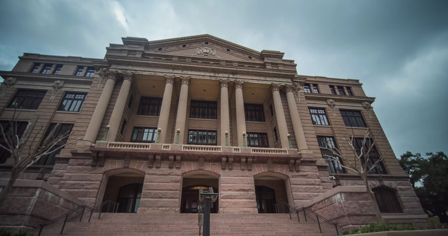 Time lapse of the old Harris County Court House in downtown Houston, Texas.