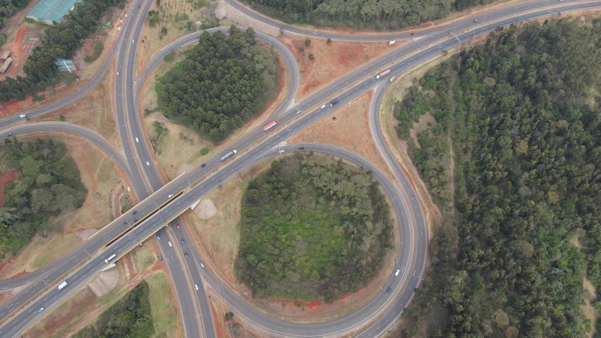 Cloverleaf interchange on Nairobi Southern Bypass Highway, top view   Shutterstock HD Video #1067954468