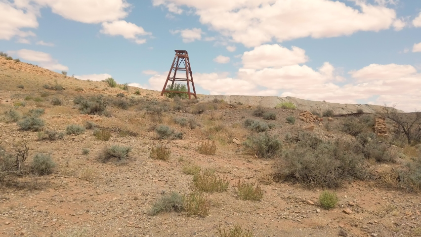 Walking past an old abandoned mine shaft in outback Australia
