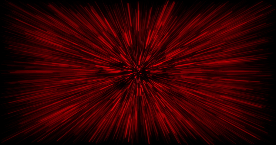 Hyper jump into another galaxy. Speed of light, red glowing rays in motion. Beautiful fireworks, colorful explosion, big bang. Falling stars. Abstract bright creative cosmic background | Shutterstock HD Video #1067973290