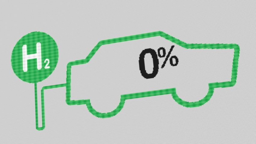 Car shape with Hydrogen filling indicator going up to 100. Suitable for concepts as hydrogen vehicle, refuelling station, green hydrogen and fuel cell. Royalty-Free Stock Footage #1067993738