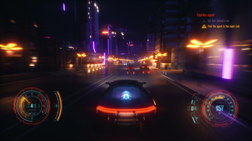 Cyber racing fake game with HUD. Cyberpunk style city | Shutterstock HD Video #1067995520