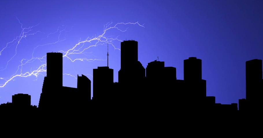 Houston Timelapse Stormy Night Lighting Bolt Time Lapse