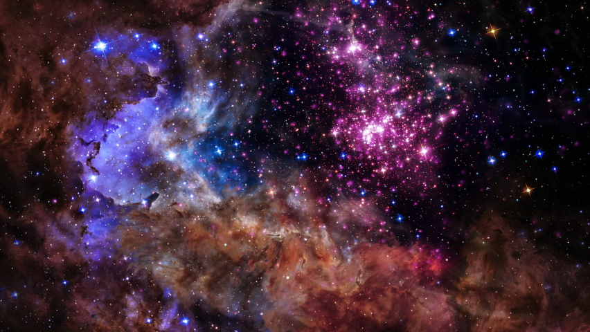 Westerlund 2. Space Flight star field Galaxy and Nebulae deep space exploration. 4K 3D Flight Into Westerlund 2, Cluster of young stars located about 20,000 light years from Earth. NASA image include. | Shutterstock HD Video #1068024359