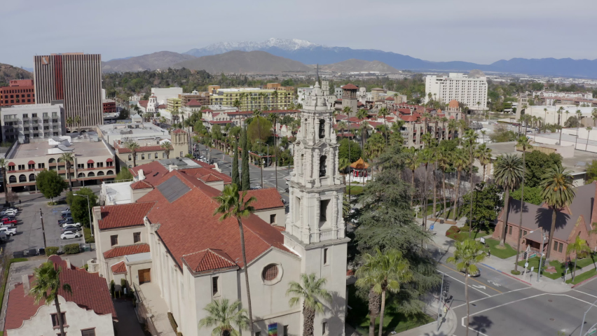 Aerial view of the historic skyline of downtown Riverside, California, USA. Royalty-Free Stock Footage #1068068006