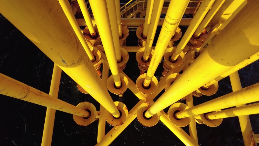 Oil and Gas Producing Slots at Offshore Platform - Oil and Gas Industry  | Shutterstock HD Video #1068072662