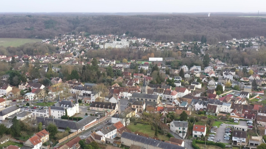 Saint-Chéron, France - February 2021 : french village where a 14 year old college girl was stabbed to death on Monday February 22. Drone aerial view