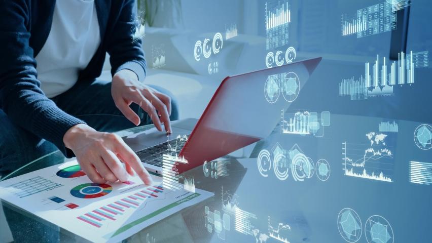 Data analysis. Business chart. Financial technology. FinTech. Marketing. Management strategy. Royalty-Free Stock Footage #1068078284
