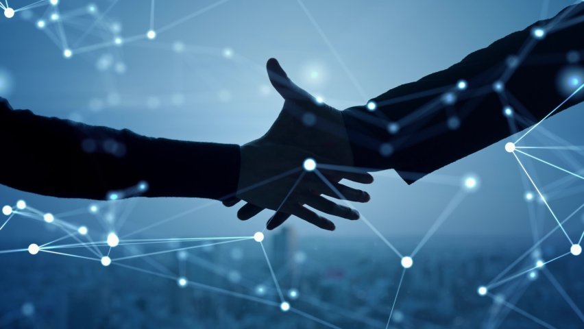 Business network concept. Teamwork. Partner ship. Shaking hands. Royalty-Free Stock Footage #1068078290