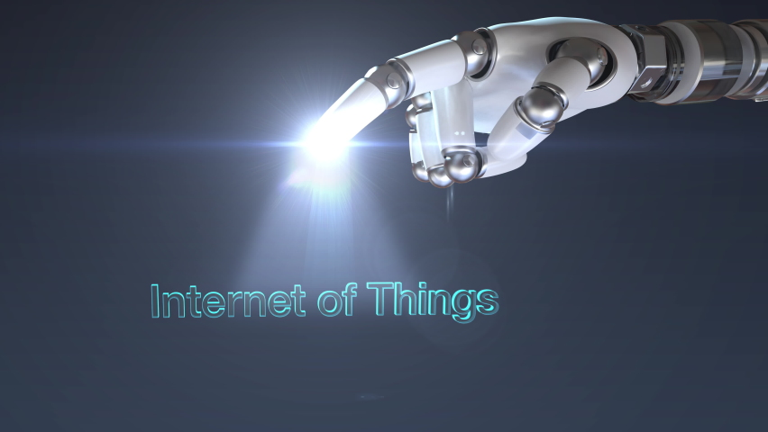 Robot, cyborg hand touching one points. 'INTERNET OF THINGS' typo rotates and appears. 4k animation. Royalty-Free Stock Footage #1068093938