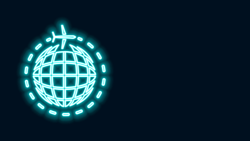 Glowing neon line Globe with flying plane icon isolated on black background. Airplane fly around the planet earth. Aircraft world icon. 4K Video motion graphic animation. | Shutterstock HD Video #1068109397