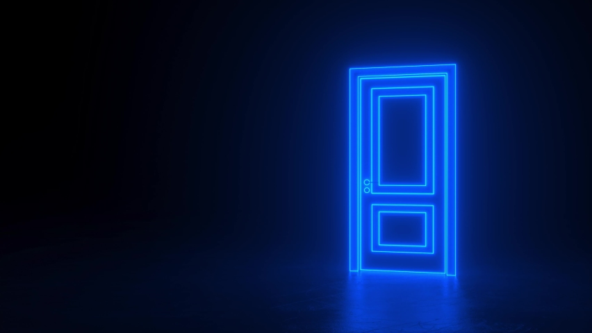 Abstract open door to the universe. Blue neon door changes color to orange. Cyberpunk background concept. Hologram LED laser door. Move around. Choice, business, success, opportunity. 3d animation 4K | Shutterstock HD Video #1068119957