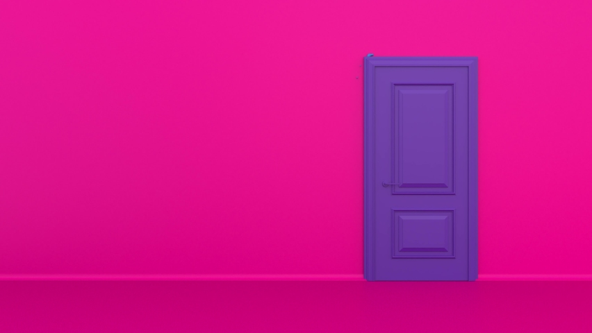 Bright colorful blue water or paint flows into the pink room from the opening purple door. Streams of liquid flooding the floor. Colorful interior with pink walls. Sweet green splash. 3d animation, 4K | Shutterstock HD Video #1068119960