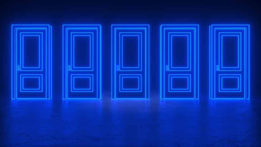 A row of blue neon closed doors with glowing lines. The center door opens, turns orange, then closes. Concept of new innovations, future and hope, new beginning or a win. 3D animation intro loop of 4K | Shutterstock HD Video #1068119987