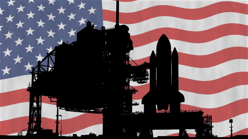 Space Shuttle Silhouette with USA Flag in Background | Shutterstock HD Video #1068120626