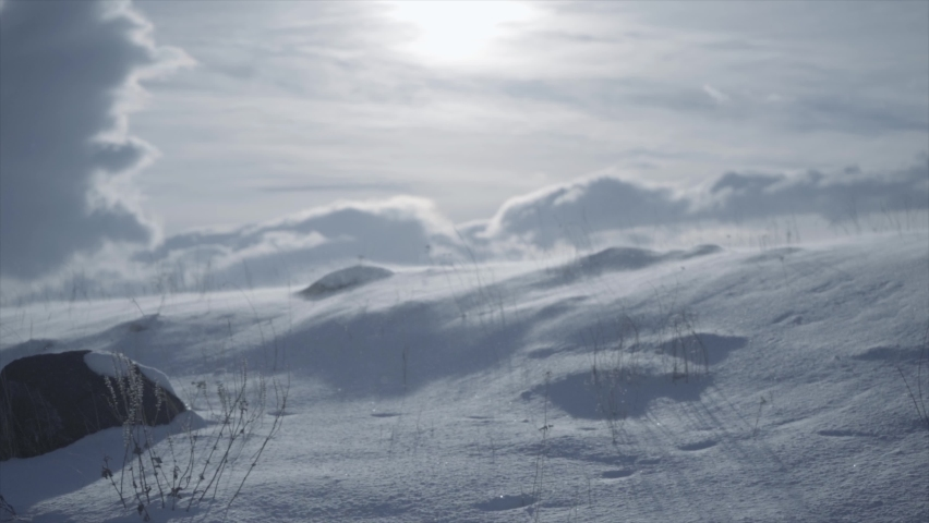 Strong wind in winter in the mountains | Shutterstock HD Video #1068120986