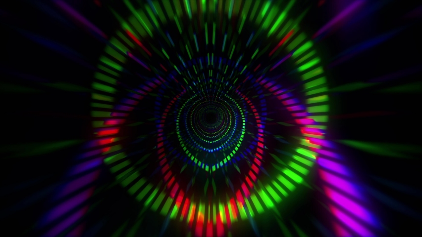 Digital Tunnel Motion Graphic. colorful lines speed flow shaped lights VJ loop background. For your big led screens during show performance. Abstract Visual. | Shutterstock HD Video #1068164264