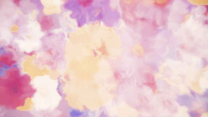 Abstract floral motion background animation in the style of a watercolor painting. Flowers include alstroemeria, carnation, chrysanthemum, daisy, gerbera, gladiola, hydrangea and rose. Full HD loop.
