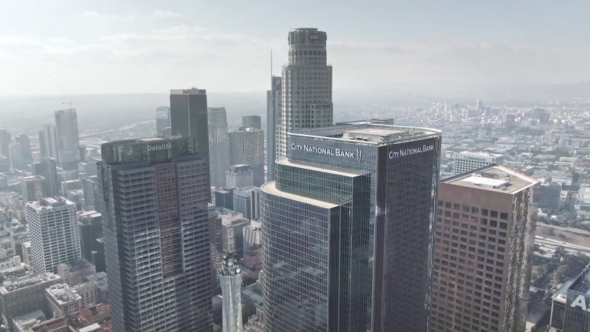 LOS ANGELES, CA, USA - Feb 15, 2021: Drone 4k. Aerial view of Los Angeles modern office buildings, skyscrapers, banks, downtown apartments in LA. Urban life, financial business center, city in USA