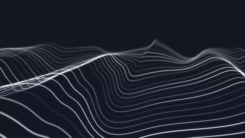 Dynamic wave. Digital technology background. Big data visualization. Science background. 3d rendering. Seamless loop. 4k Royalty-Free Stock Footage #1068208205