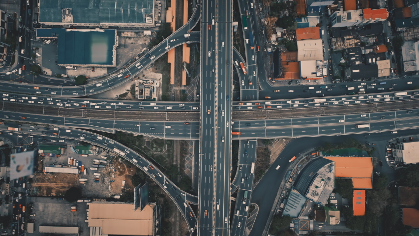 Top down aerial of cars drive at cross road. Nobody cityscape. Traffic highway transportation. Skyscrapers buildings at downtown streets. Business center of New York City, USA, North America | Shutterstock HD Video #1068208955