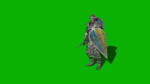 medieval knight with sword in hand on green screen