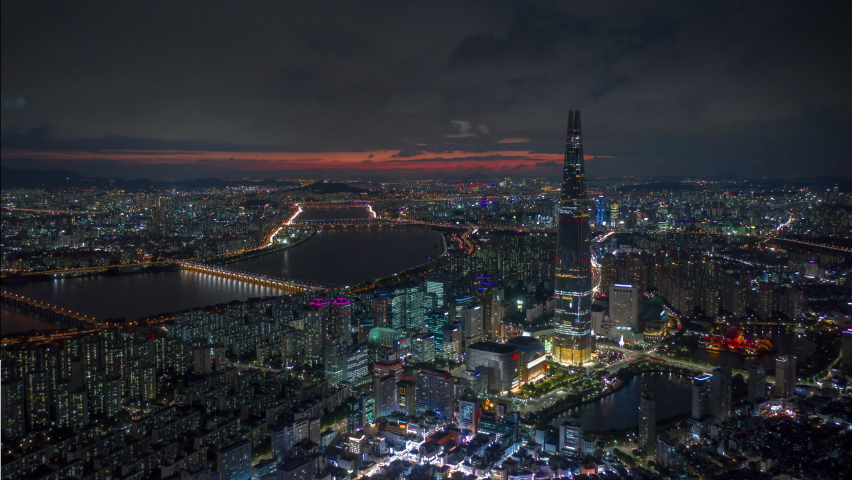 sunset night illuminated seoul city famous tower riverside bay aerial panorama 4k timelapse south korea Royalty-Free Stock Footage #1068259370